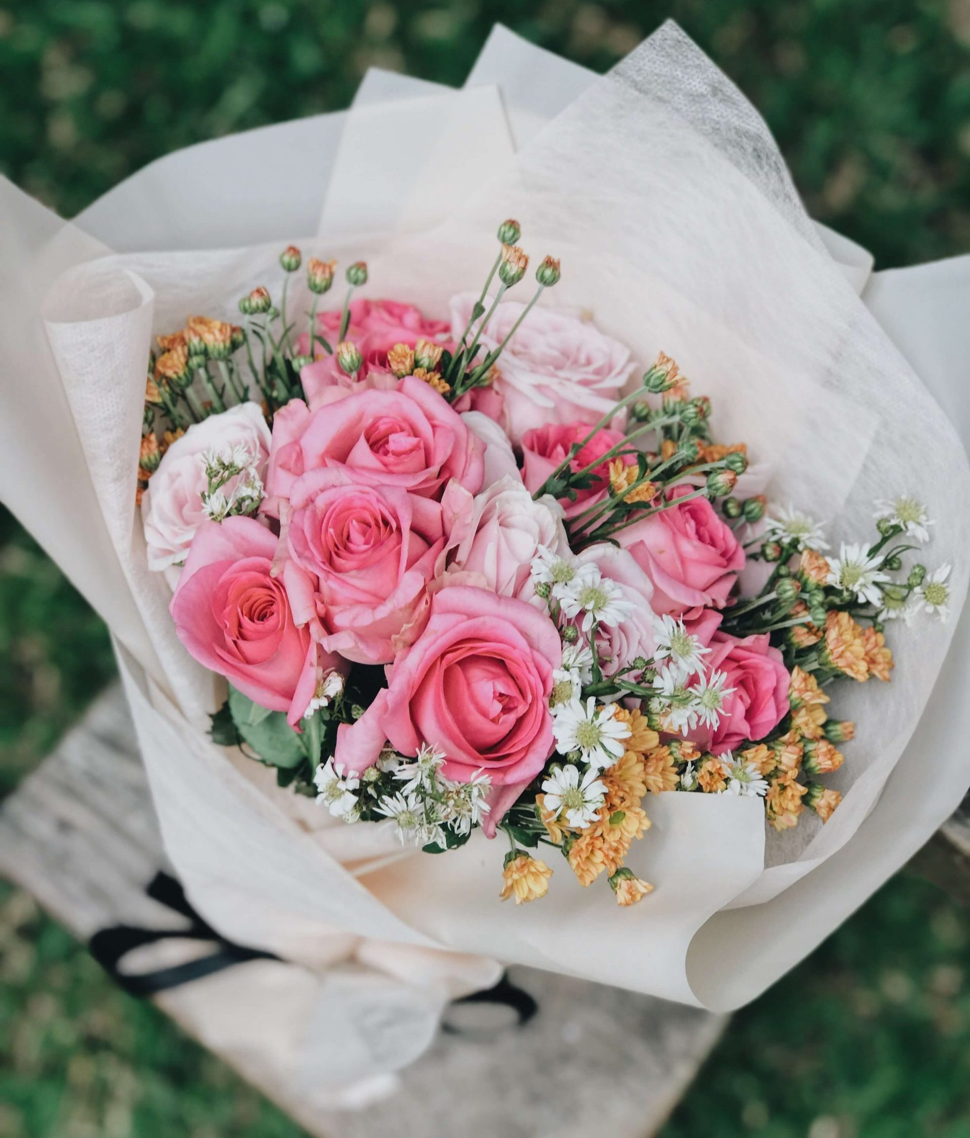 classic pink rose bouquet