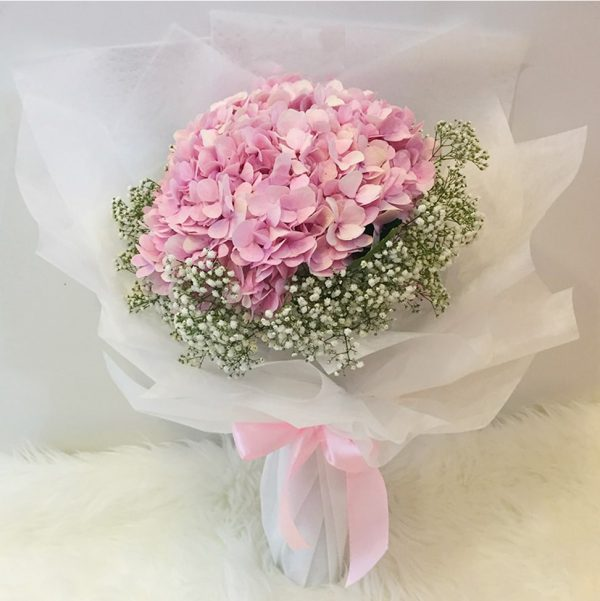 Pink Hydrangea bouquet with baby breath