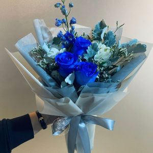 Cyan - Blue Kenya Rose and Delphinium Bouquet