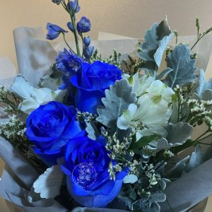 Cyan Closeup- Blue Kenya Rose and Delphinium Bouquet