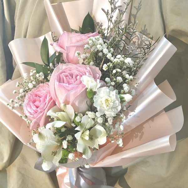 Pretty in Pink - 3 pink ohara rose bouquet.