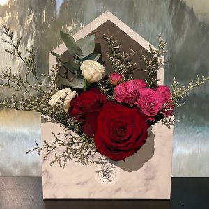 marble envelope rose box