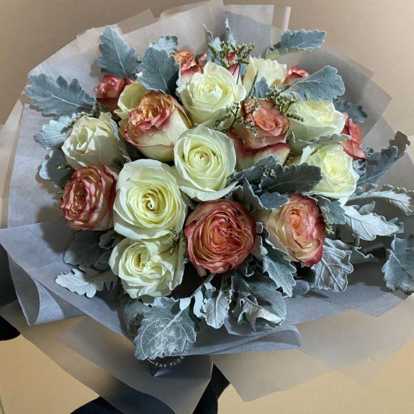 marigold fire closeup - Mixed Kenya Rose Bouquet
