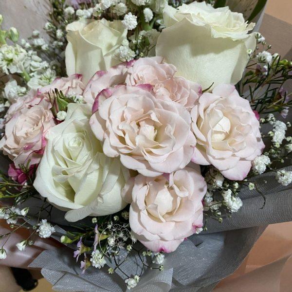 sweet magenta Closeup- White Kenya Rose and Rose Spray Bouquet