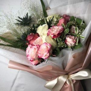 Amour - White Kenya Rose and rose spray bouquet