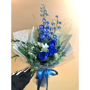 Blue Summer -3 Blue Kenya Rose and Delphinium bouquet