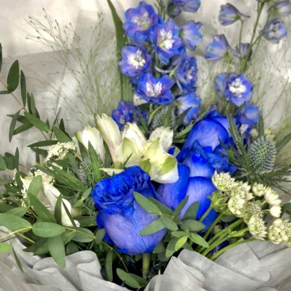 Blue Summer -3 Blue Kenya Rose and Delphinium bouquet closeup