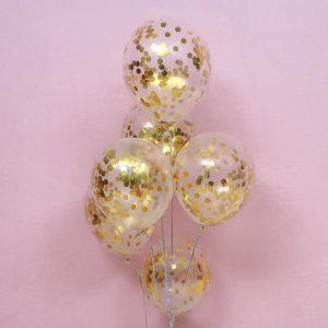 Gold Confetti Latex Balloons