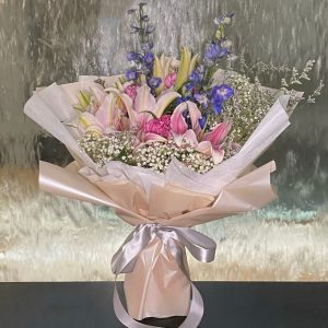 Happy Lily - Lily and delphinium bouquet