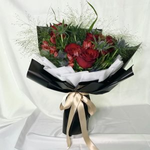 Regal Roses Bouquet - Red rose and thistle blue bouquet