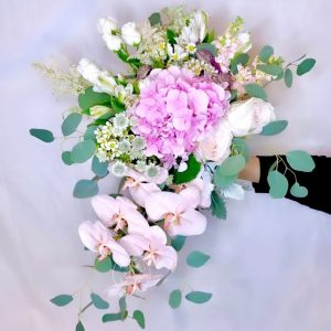 transcendent hand bouquet - hydrangea rose and orchid bouquet
