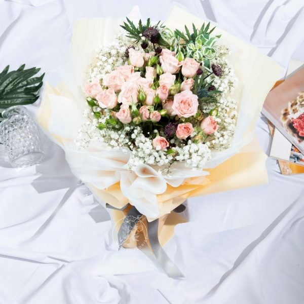Ava - Baby Breath and Rose Spray Bouquet