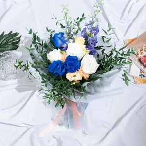 Blue Forest - Mixed Kenya Rose and Delphinium Bouquet