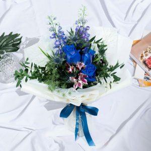 Blue Summer - Blue Kenya Roseand Delphinium Bouquet