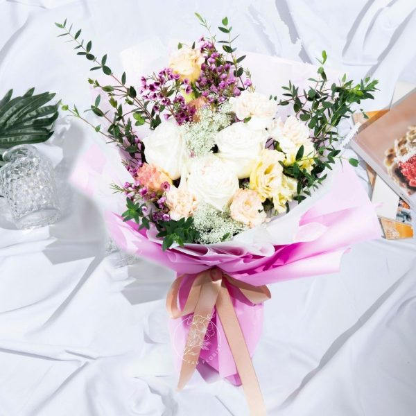 Coral Dream - Mixed White Rose and Carnation Bouquet