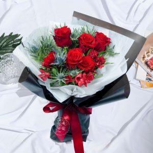 Regal Roses Bouquet - Red rose and Thistle Blue Premium XL Bouquet