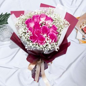 Simply You - Kenya Rose and Baby Breath Bouquet