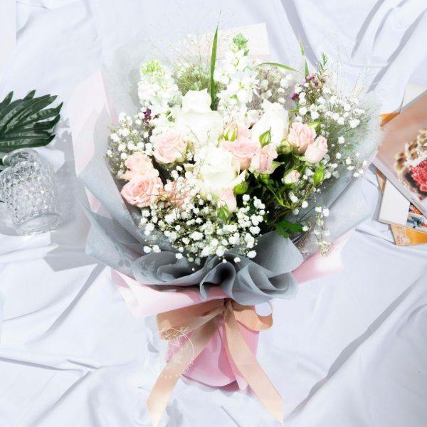 Sweet Magenta - White Kenya Rose and Rose Spray Bouquet