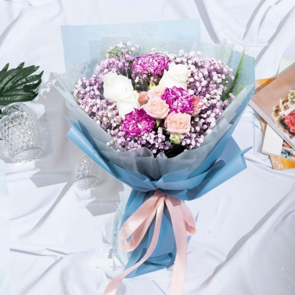 Wild Passion - Mixed Carnation and White Kenya Rose Bouquet