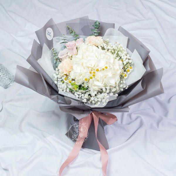 Caroline - White Hydrangea Mixed Bouquet