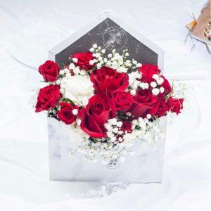 Forever and Always - Valentine's Red Rose Flower Envelope