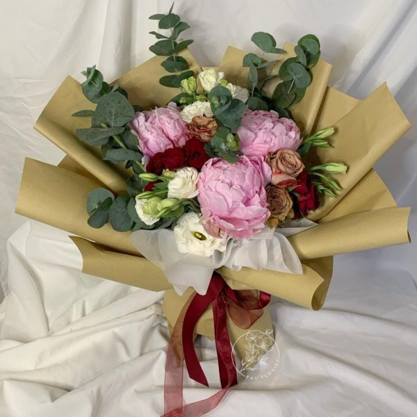 Heather - Mixed Peonies and Red Kenya Rose bouquet