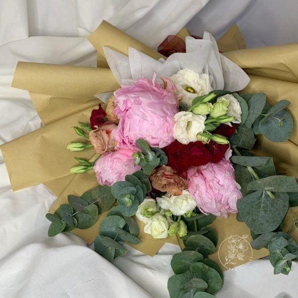 Heather - Mixed Peonies and Red Kenya Rose bouquet closeup