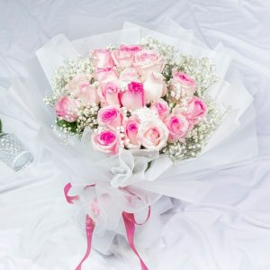 Pink Desire - 20 Pink Kenya Rose and Baby Breath Bouquet