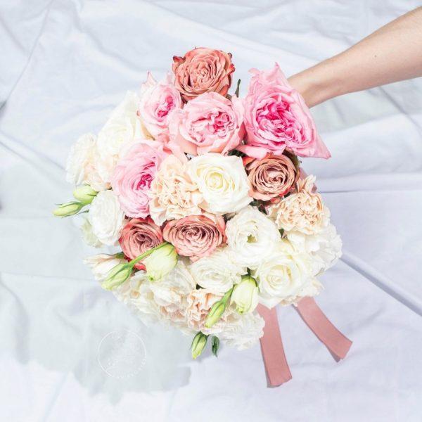 Rustic White Wedding Hand Bouquet – Round Rose Bouquet