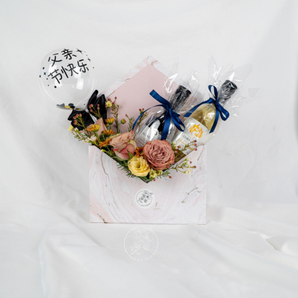 Father's Day Special - Rose & Eustoma Marble Envelope Box Add On Balloon