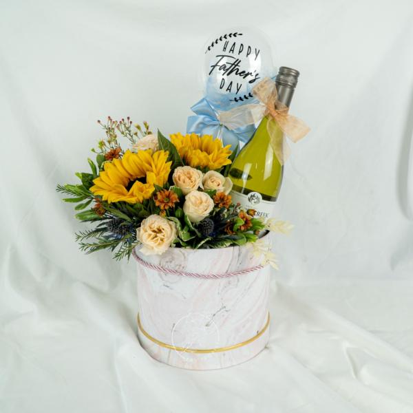 Sunflower Hamper Wine Box - Chardonnay Add On Balloon