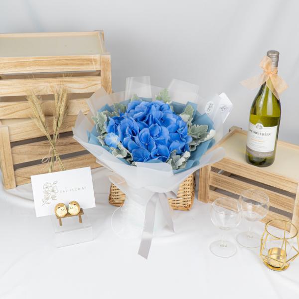 Blue Lagoon – Hydrangea Dusty Miller Bouquet