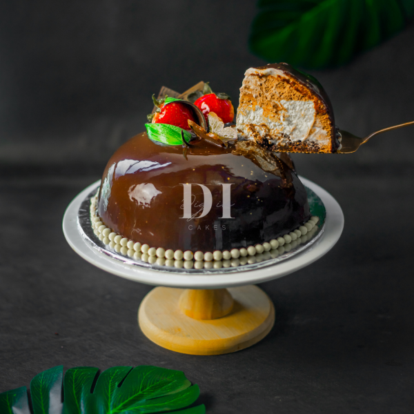 Dark Chocolate Banana Mousse Dome Slice