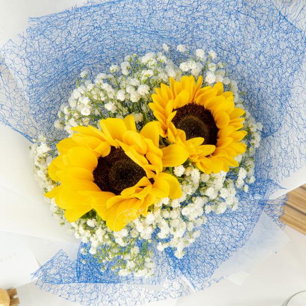 Golden Times – Sunflower & Baby Breath Bouquet 2