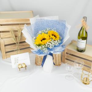Golden Times – Sunflower & Baby Breath Bouquet