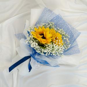 Golden Times - Sunflower & Baby Breath Bouquet