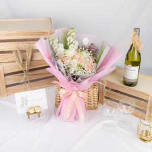 Sweet Magenta – White Kenya Rose and Rose Spray Bouquet