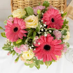 Blissful Blossoms - Gerbera & Eustoma Bouquet Table Arrangement Close Up