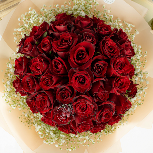 Fall In Love - Red Kenya Roses & Baby Breath Bouquet Close Up