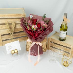 First Kiss – 3 Red Kenya Rose Bouquet
