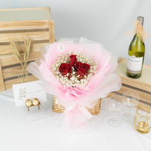 ILU – Red Rose & Baby Breath Bouquet
