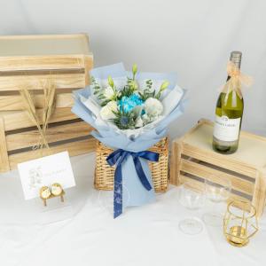 Sapphire Splendor - Dyed Blue Peony & Eustoma Bouquet