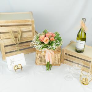 Summer Love Wedding Hand Bouquet - Rose & Baby Breath Bouquet