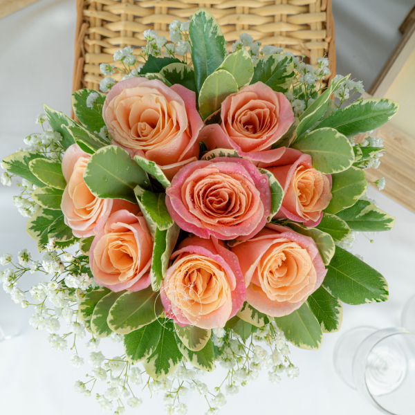 Summer Love Wedding Hand Bouquet - Rose & Baby Breath Bouquet Close Up